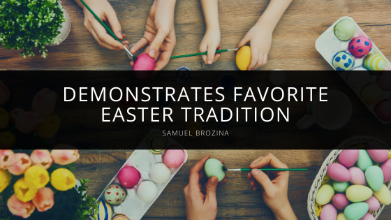 Samuel Brozina Demonstrates Favorite Easter Tradition
